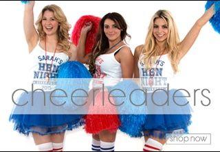 Cheerleaders fancy dress themes, hen party themes, hen party fancy dress ideas,