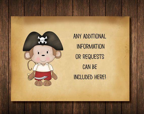 Monkey Pirate Baby Shower Invitation by RoseColoredGraphix on Etsy