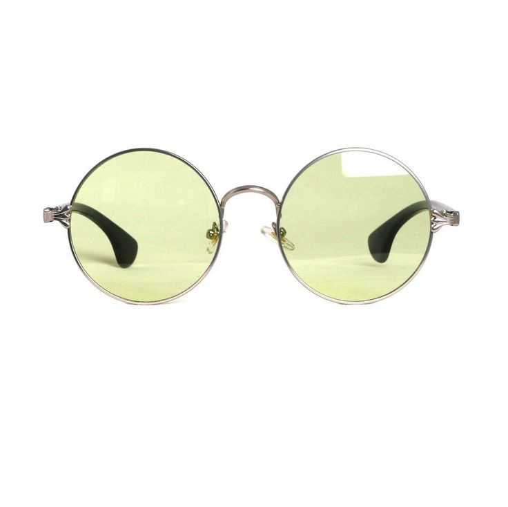 AYF 155 Vintage Tint Sunglasses Round Metal Fashion Glasses Green Lens Eyewear #AYF #Round
