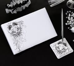 Lillian Rose True Love Collection guest book and pen holder with pen set. Sold at Second I Do's