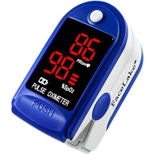 NEW Pulse Oximeter with Carrying Case Batteries Neck Wrist Cord Warranty Blue #PulseOximeter