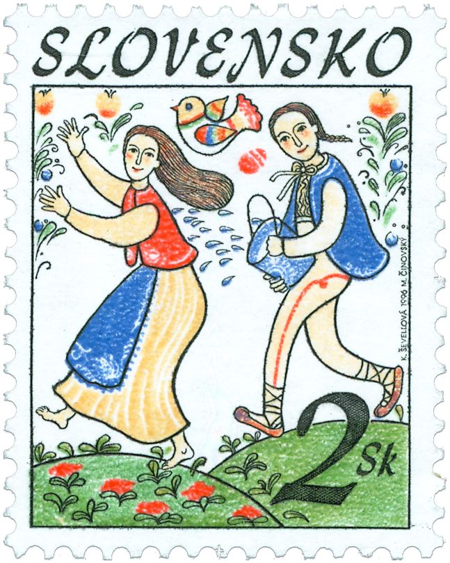 "Slovak stamp depicting spring tradition of ""sprinkling the girls"""