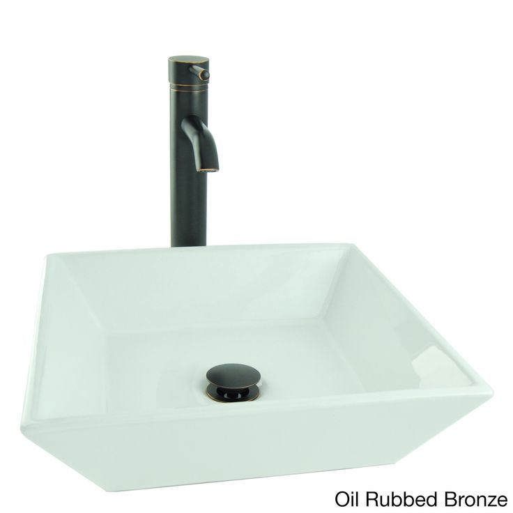 Fontaine Shallow Square Porcelain Vessel Sink in White with Vessel Faucet and Drain (