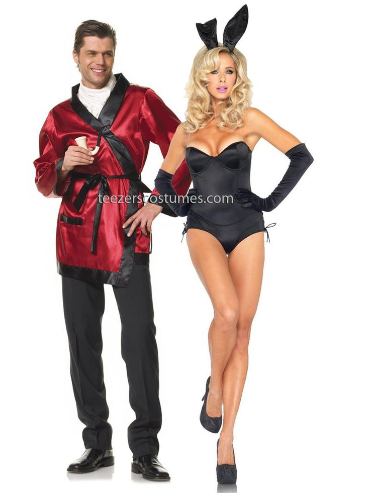 hefner robe and playmate bunny couples adult halloween costumes - Puck Bunny Halloween Costume