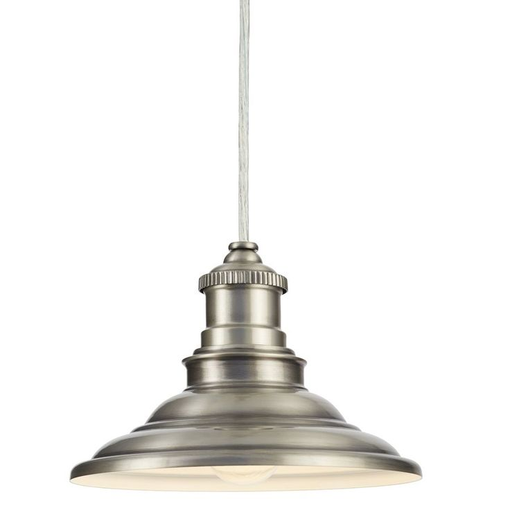 allen + roth Hainsbrook 7.99-in Antique Pewter Rustic Mini Cone Pendant (Option for silver/white scheme)