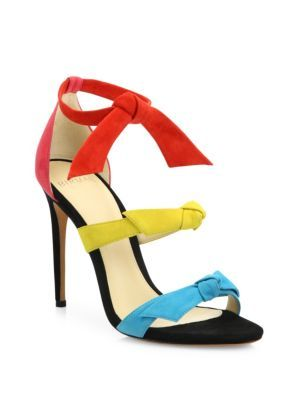 ALEXANDRE BIRMAN Mary Bow Colorblock Suede Sandals. #alexandrebirman #shoes #sandals