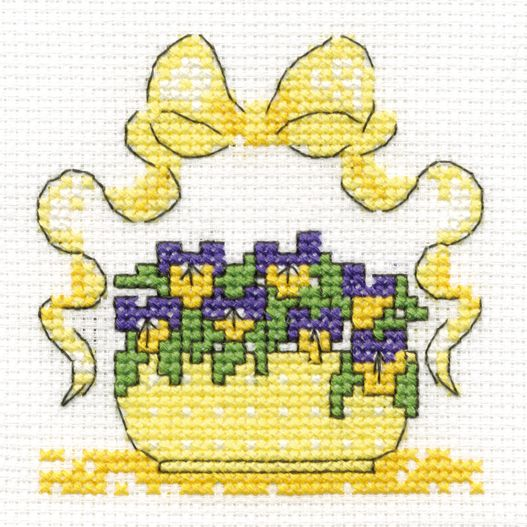 Free cross stitch chart of Violas. Download from: http://www.dmccreative.co.uk/Inspiration/Projects/Light-Effects-Cross-Stitch/Violas.aspx
