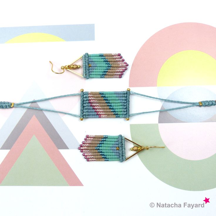 Micro macrame dangle earrings, with miyuki delica earrings - chevron patterns. Colors : niagara blue, teal, green, hazelnut, pink, fuchsia and gold. © #earrings #miyuki #delica #macrame #micromacrame #multicolore #ss2017 #niagara #blue #jean #teal #green #hazelnut #pink #fuchsia #gold #etsy #chevron