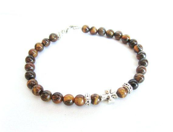 Mens cross bracelet tiger eye stone beaded by Bravemenjewelry