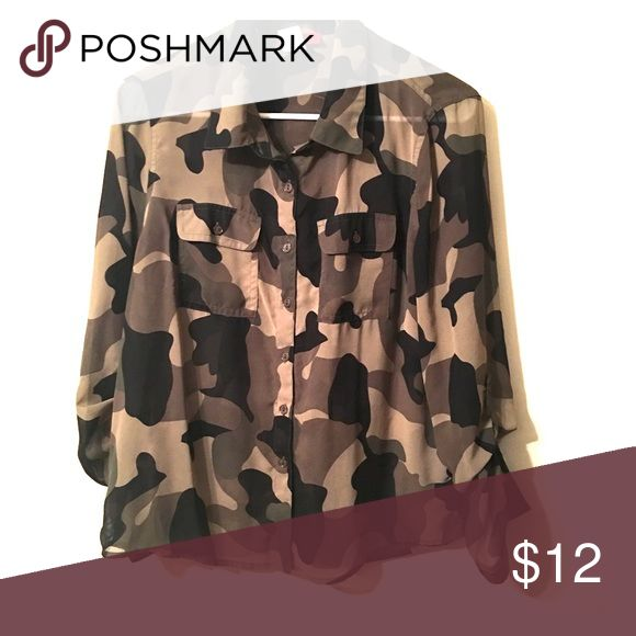 Camo Top Who doesn't need a cute camo top for Fall?! Pair it with some riding boots & a leather bomber jacket! Worn once! Tops