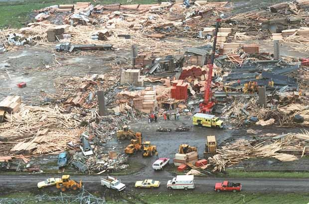 An aerial view of the aftermath of a tornado that hit Edmonton on July 31, 1987. #87tornado