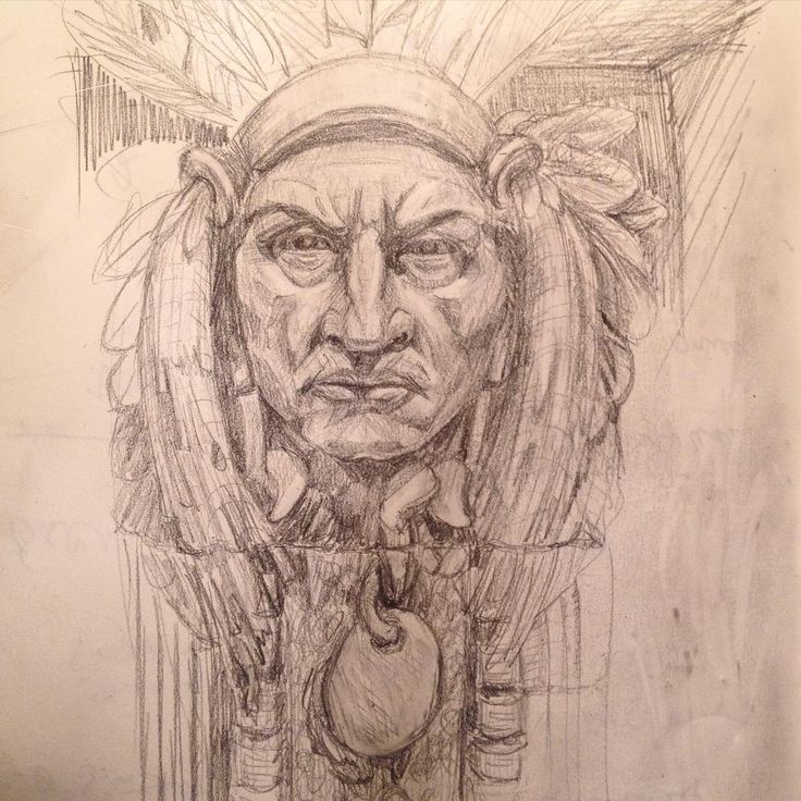 Вождь Сиэтл из Вашингтону. Настроение, когда одни суровые вызывающие индейцы в голове :) Chief Seattle. Washington, US. Mood when glaring severe men are in my head. #Seattle #chiefseattle #indian #Washington #pencil #draw #art #leuchtturm1917 #statue