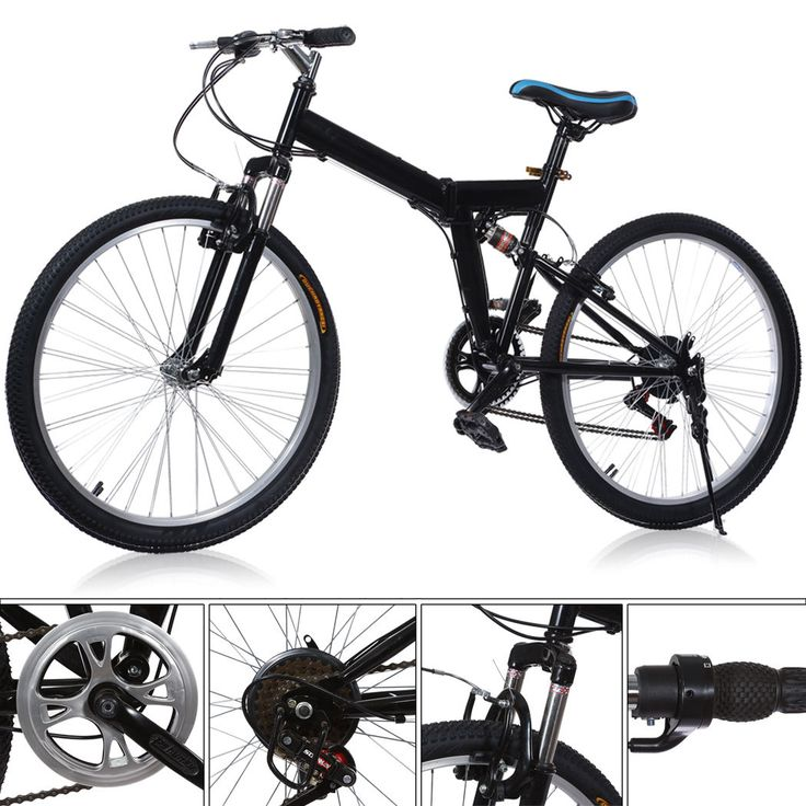 26 Folding Mountain Bike 6 Speed Bicycle Full Suspension Sports Cycling