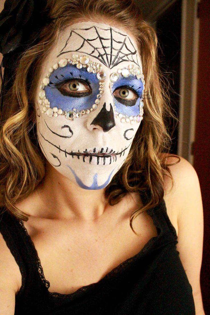 beautiful and creepy sugar skull face paint tutorial halloween next year - Halloween Skull Face Paint Ideas