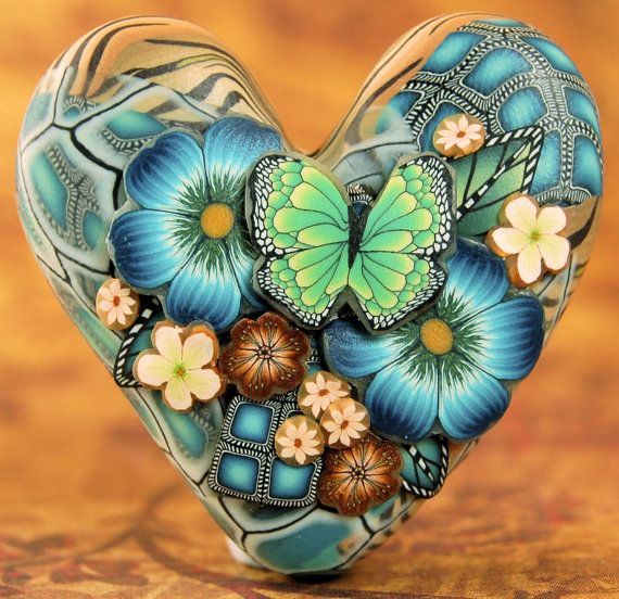 Polymer Clay dimensionale Herz fokale Bead von ikandiclay auf Etsy
