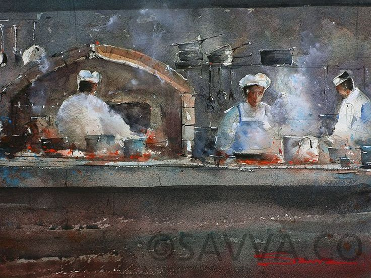 Protaras Chefs in Watercolour. Painted by Savva