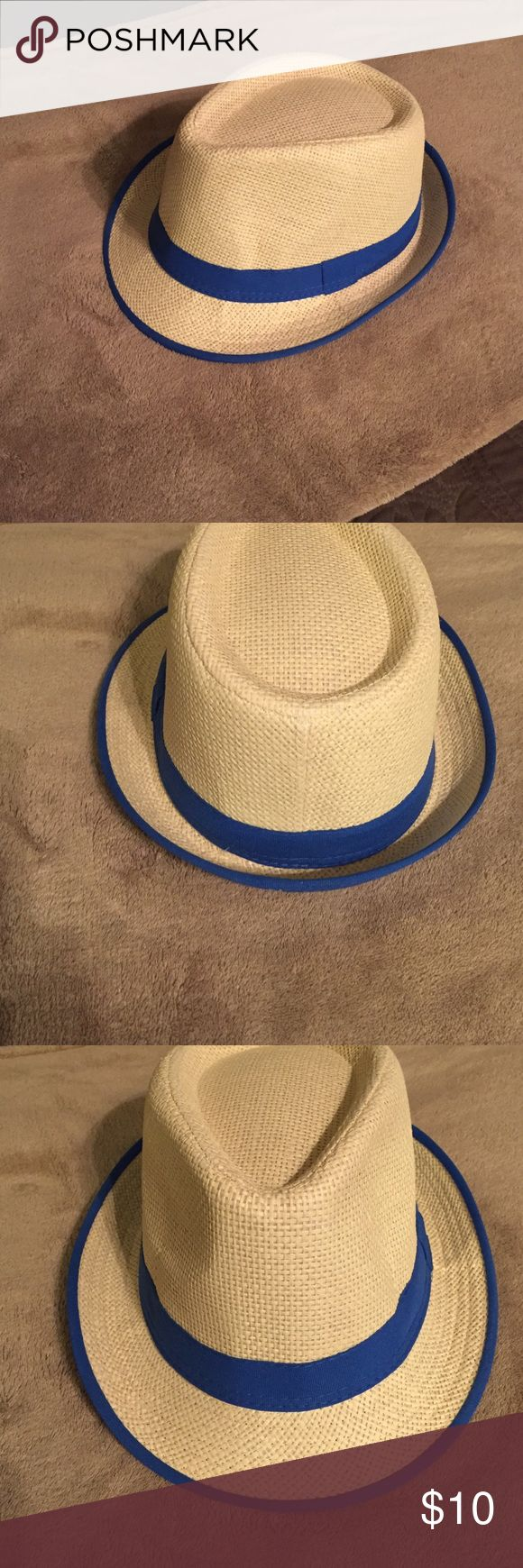 Fedora Tan fedora with Royal blue trim and band. Never been worn. Accessories Hats