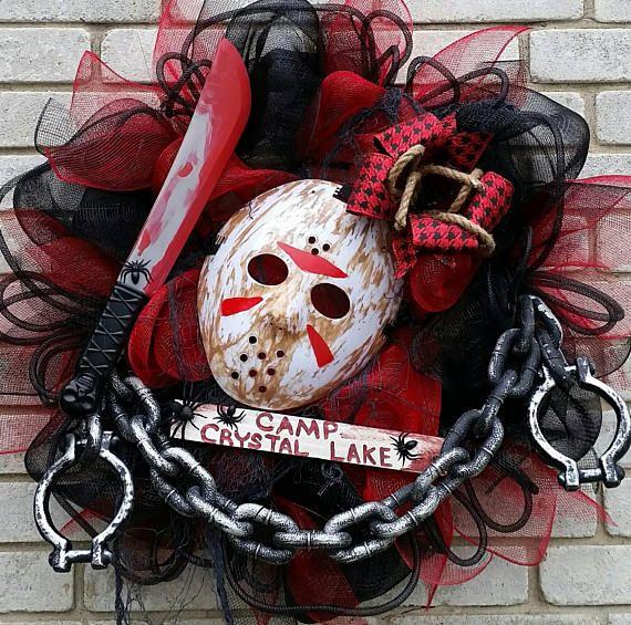 Jason Friday the 13th Halloween Wreath Camp Crystal Lake Spooky Horror Wreath Halloween decor MADE TO ORDER best seller