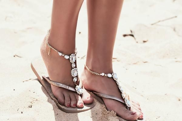 The perfect jewelled shoe for a casual bohemian-style beach wedding! French Riviera (Bronze-Gold) by Sanjewels