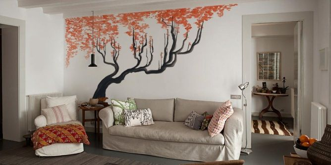 Living Room Idea Cherry Tree Photo Wallpaper Wall Mural