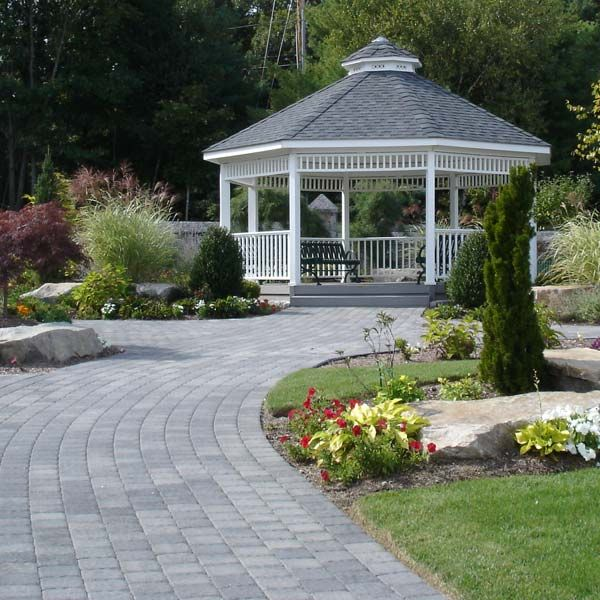 Grey Was Chosen For The Gazebo Roof, Steps And Flooring To Complement The  Grey Tones In The Paver Patio And Walkway. Finishing Touches Include Patio  ...
