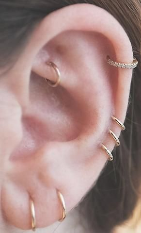 Minimalistic Ear Piercing Ideas - Rose Gold Double Earring Lobe - Triple Cartilage Ring - Rook Hoop - at MyBodiArt.com