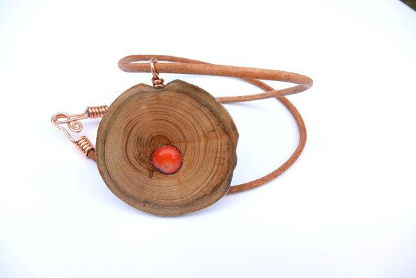 Necklace from an apple tree, natural coral and turquoise, wooden necklace,wooden jewelry,jewelry made of wood,necklace of wood, by Mazunii on Etsy