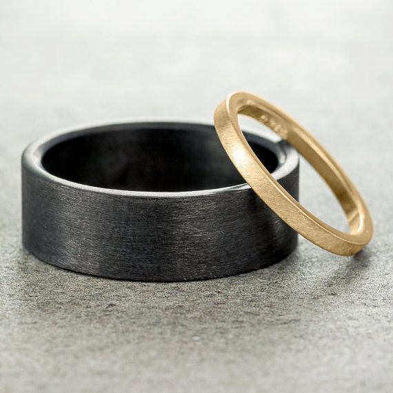 Eco Friendly Wedding Band Set, Matte 14k Yellow Gold & Sterling Silver