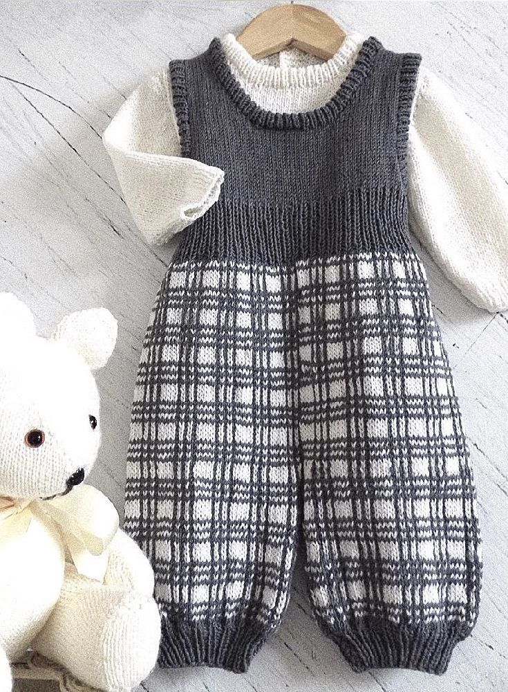 Lovely knitted baby overall from OGE Knitwear Designs - available at LoveKnitting