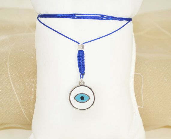 greek evil eye charm silver evil eye necklace by christelboutique