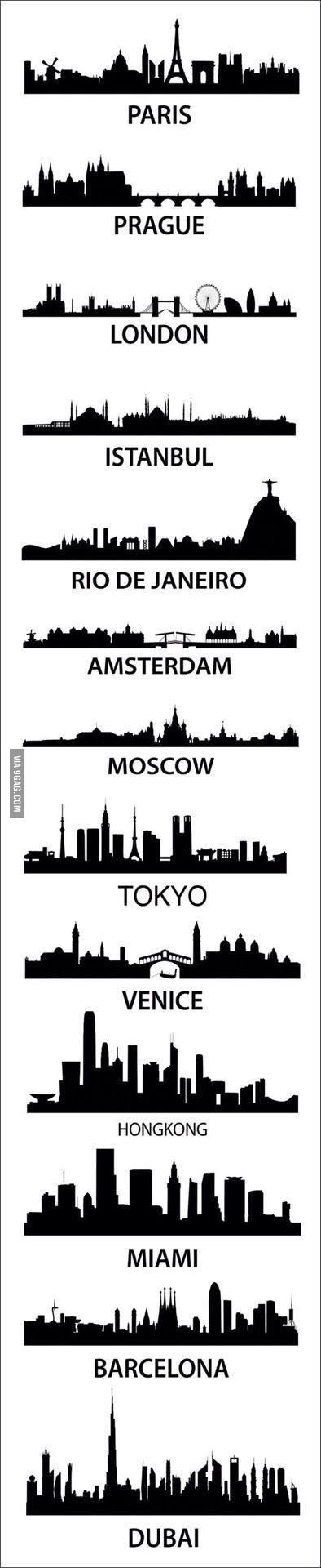 Skylines from all over the world.