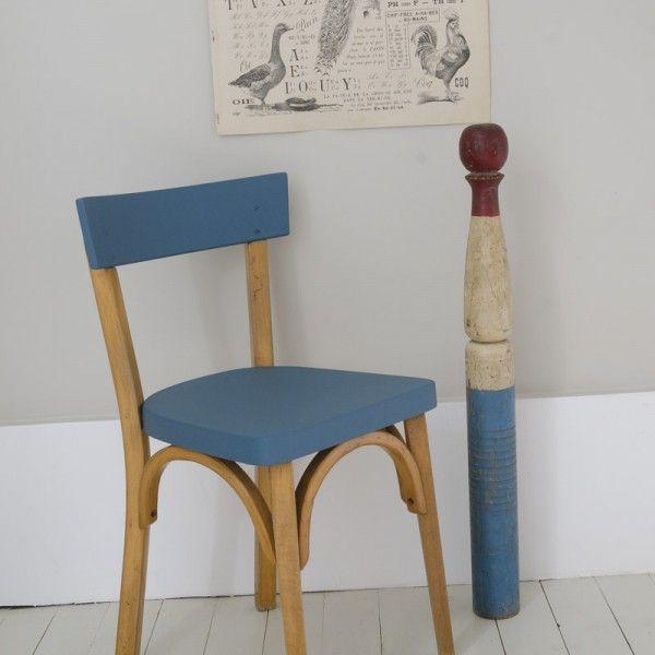Chaise bleue et bois / chair