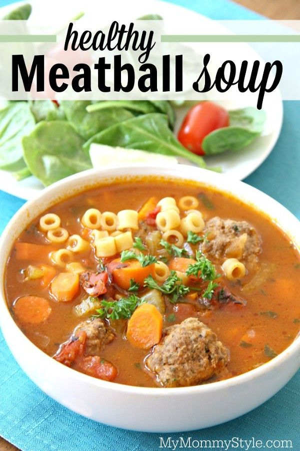 Healthy meatball soup recipe. Use ground turkey or ground beef for the meatballs. A 30 minute dinner recipe that uses ingredients you probably already have on hand in your pantry and fridge.