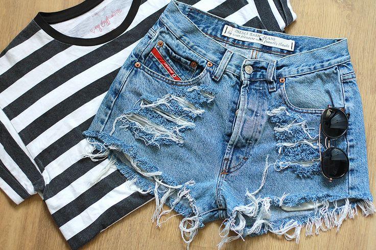 DIESEL Denim Shorts High Waisted Jeans Vintage Destroyed