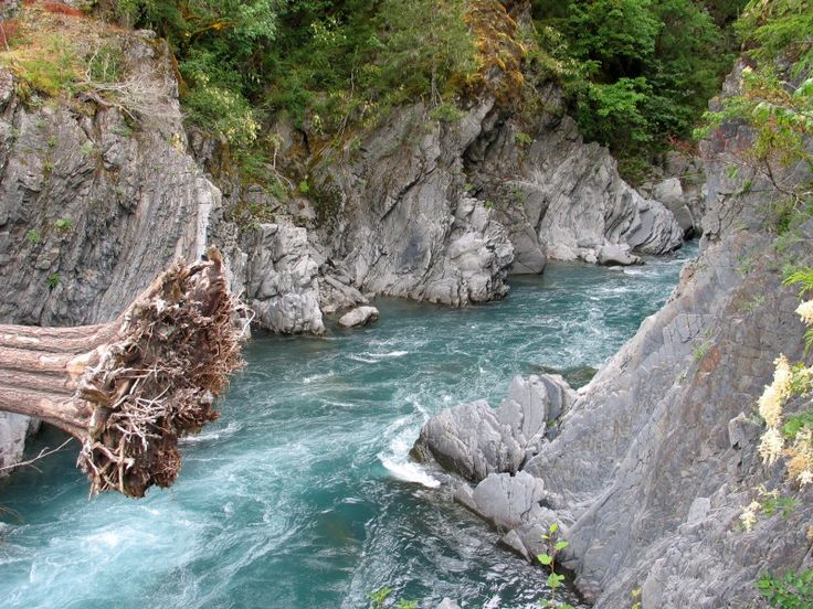 """Goblin Gates on the Elwha River at Olympic National Park in Washington.Perhaps a supernatural force does control the area; though people have attempted to bridge the gates twice, the first bridge washed away and the second decayed and was removed. Now, visitors can hike to the area and admire the goblin's swirling """"mouth."""""""