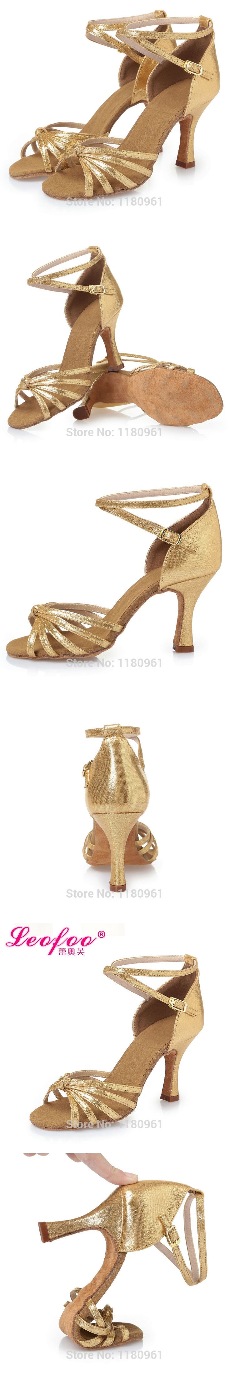 Women's Dance Shoes Ballroom/Latin Shoes Heels Chunky Heel 8.5cm gold PU gold film leat satin Factory direct sale  CL28