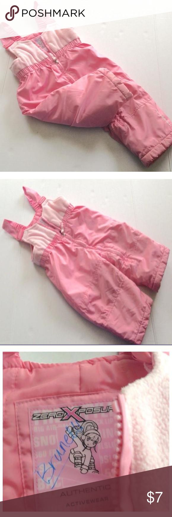 Toddler girls pink 2 toned bib snow pants pink snow pants. Girls size 12 months. Good condition. Name printed on tag but good condition. Dresses #Toddlersnowpantsgirl