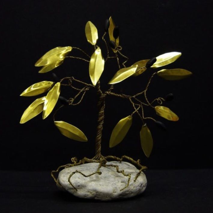 Olive Tree Brass Wire Coil Sculpture 20cm Tree Ornament 100% Handmade in Greece