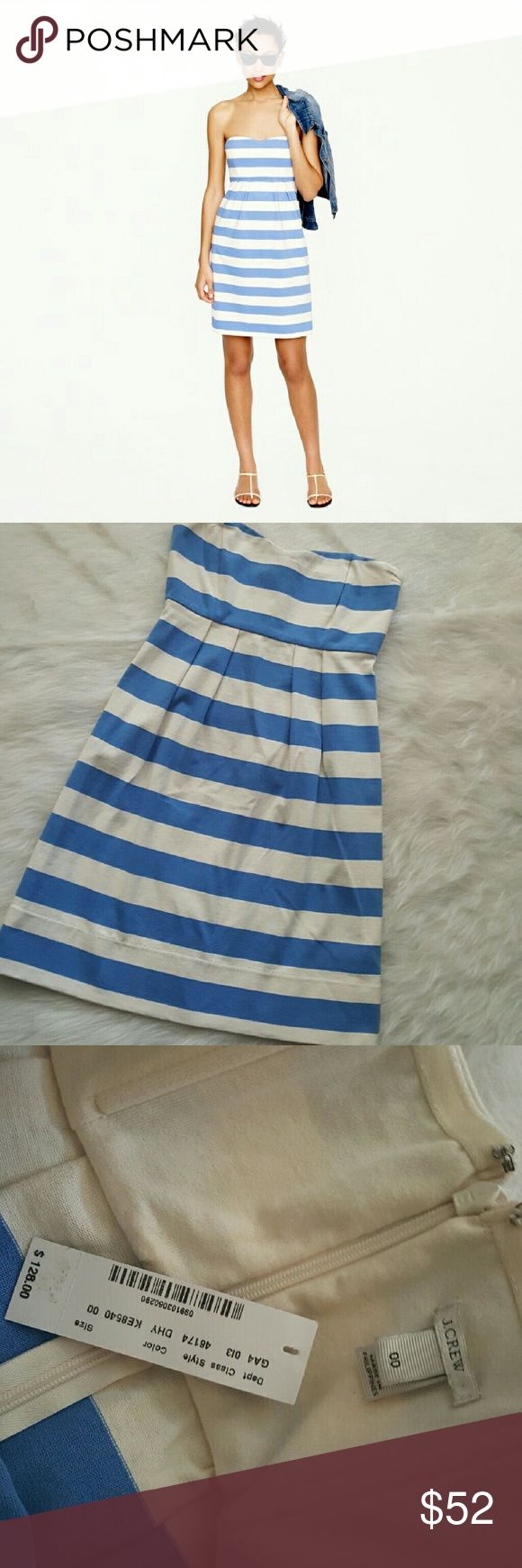 """NWT J. CREW STRIPE NAUTICAL  STRAPLESS DRESS Brand new with tags. The ultimate toss-in-your-suitcase outfit, this easy warm-weather dress is made from comfortable cotton with a classic nautical stripe and a simple strapless silhouette.  Straight silhouette. Falls 36 1/4"""" from shoulder. Back zip. Machine wash. Item 46174. Empire waist across 12"""". Chest across 14"""".  100% cotton. J. Crew Dresses Strapless"""
