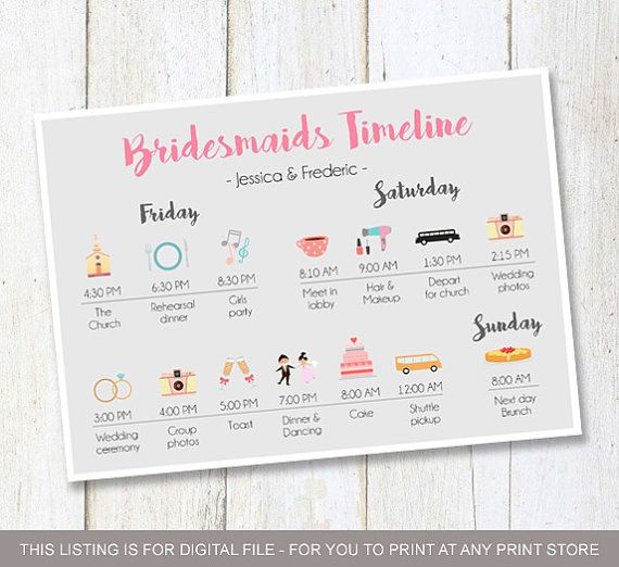 Custom Bridesmaids timeline program - Wedding Timeline Bridesmaids and Groomsmen - Wedding Itinerary Timeline DIGITAL FILE!