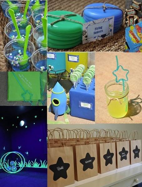 Buzz Light year Birthday Party-glow in the dark stars! Straws! Super cute ideas!