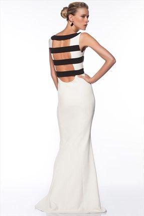 Milla by trendyol - Gece Koleksiyonu - Siyah Beyaz Elbise MLWSS143722 sadece 149,99TL ile Trendyol da