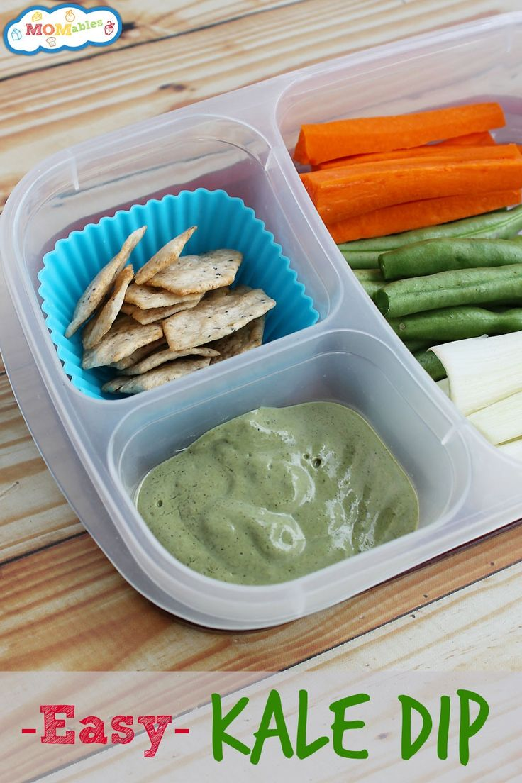 This Easy Kale Dip is perfect for the school lunch box or an appetizer or side to dinner! Plus you are sneaking in some great veggies!