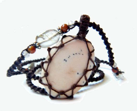 Tree Agate macrame halsketting  uw steen voor door EarthCultured