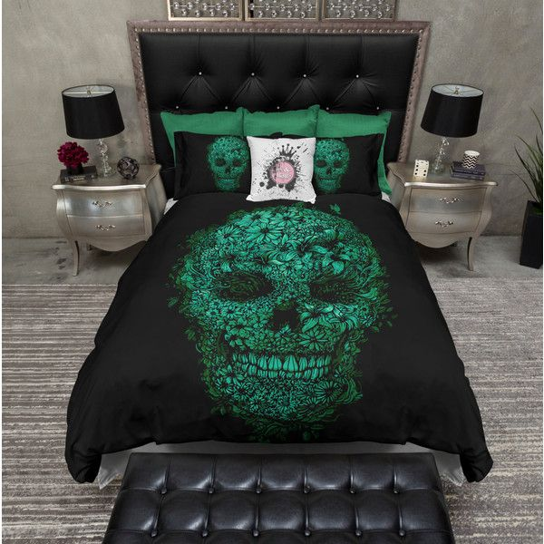 Lightweight Mean Green Flower Skull Bedding Skull Comforter Cover... ($119) ❤ liked on Polyvore featuring home, bed & bath, bedding, duvet covers, home & living, white, twin bedding sets, king size bed sets, california king duvet and twin bed sets