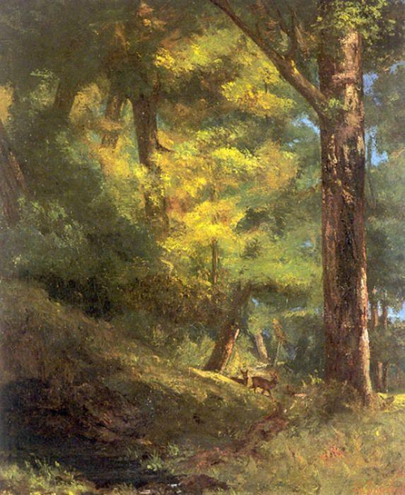 Deux chevreuils dans la forêt, huile sur toile de Gustave Courbet (1819-1877, France)
