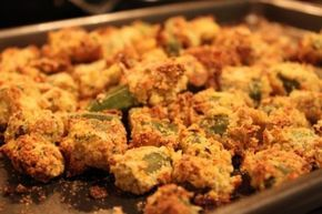 Oven Fried Okra 1 cup Yellow Cornmeal ½ cups Panko Bread Crumbs 1 Tablespoon Kosher Salt, Divided ½ teaspoons Fresh Ground Black Pepper ½ teaspoons Crushed Red Pepper Flakes ½ cups Fat-free Buttermilk 1 whole Egg, Lightly Beaten 1 pound Fresh Okra Pods, Trimmed And Cut Into 3/4 Inch Slices