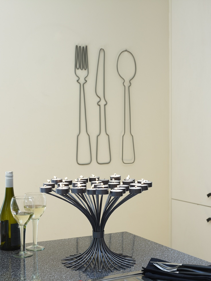 Sakura 33pc candelabra & Satachi Cutlery wall art s/3 - HOT HOT HOT in our colour crush, Graphite.
