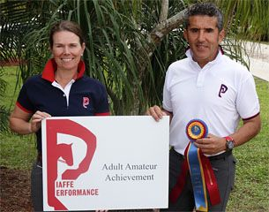 Piaffe Performance Farm founder Dr. Cesar Parra (right) and founding member Katie Riley (left) continue rewarding accomplished Adult Amateur riders, such as Susan Jones, with the Piaffe Performance Adult Amateur Achievement Award at the Adequan Global Dressage Festival