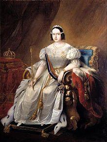 Rainha D Maria II de Portugal no seu trono.